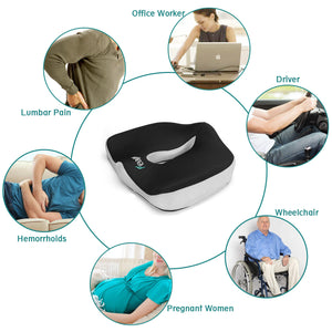 Feagar Orthopedic Seat Cushion for Coccyx Sciatica Hemorrhoid Tailbone Back Pain Relief, Memory Foam Ergonomic Posture Seat Pads for Office Chairs, Wheelchair, Kitchen Chairs, Recliner, Car Seats