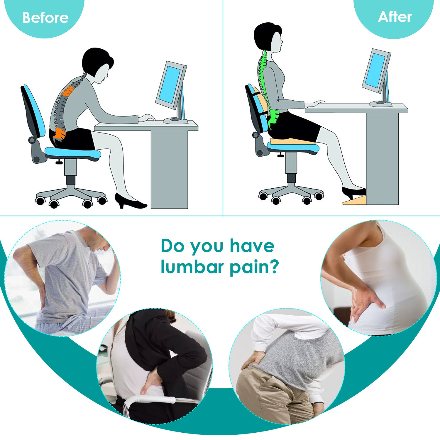 Marvelous Feagar Lumbar Support Pillow Back Cushion Memory Foam Caraccident5 Cool Chair Designs And Ideas Caraccident5Info