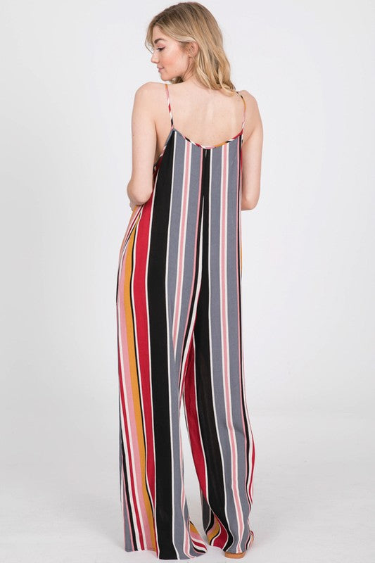 Woven Wide Leg Pocket Loose Fit Front Tie Jumpsuit