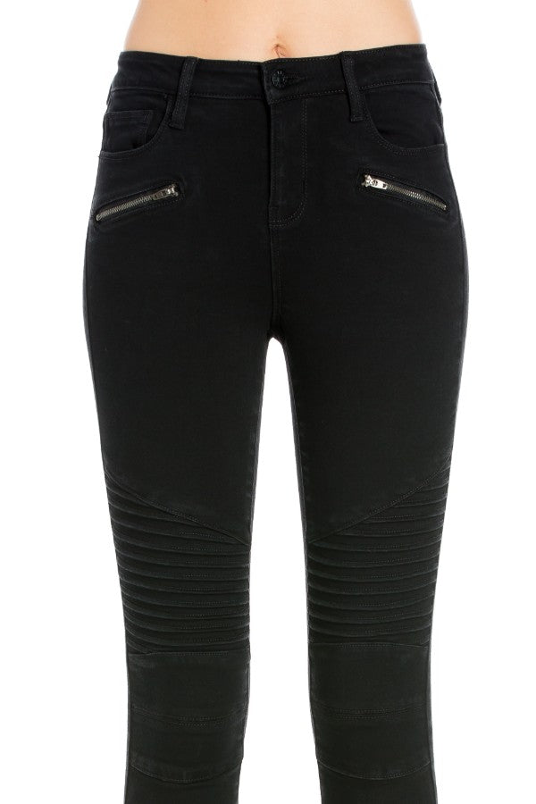 Mid Rise Moto Skinny Jeans
