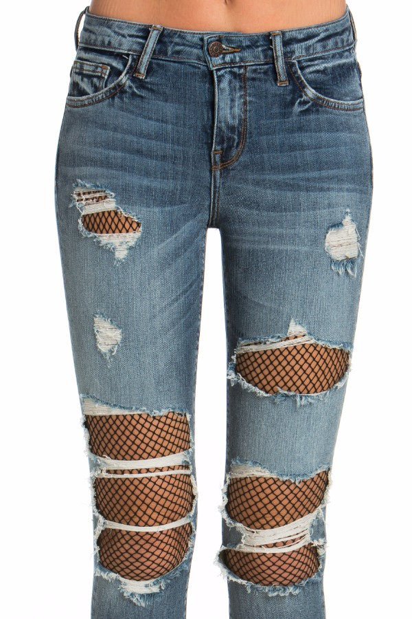 Mid Rise Crop Skinny Jean with Fishnet