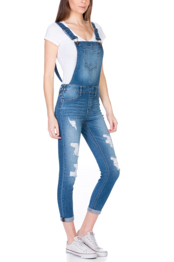 Distressed Skinny Hipster Overall