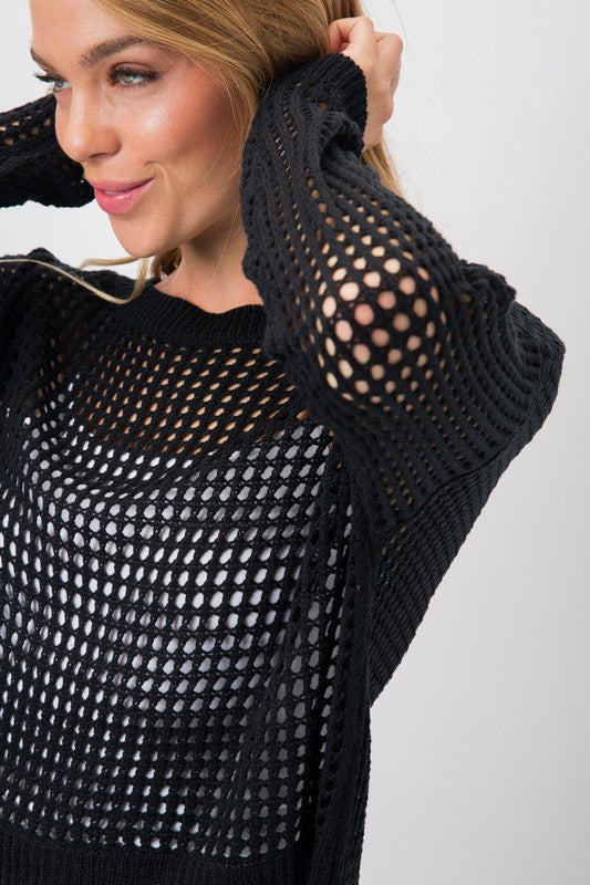 SEE THROUGH EYELET KNIT HI LO SWEATER
