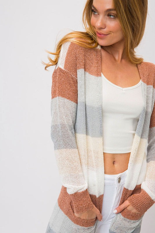 COLOR BLOCK LONG OPEN CARDIGAN