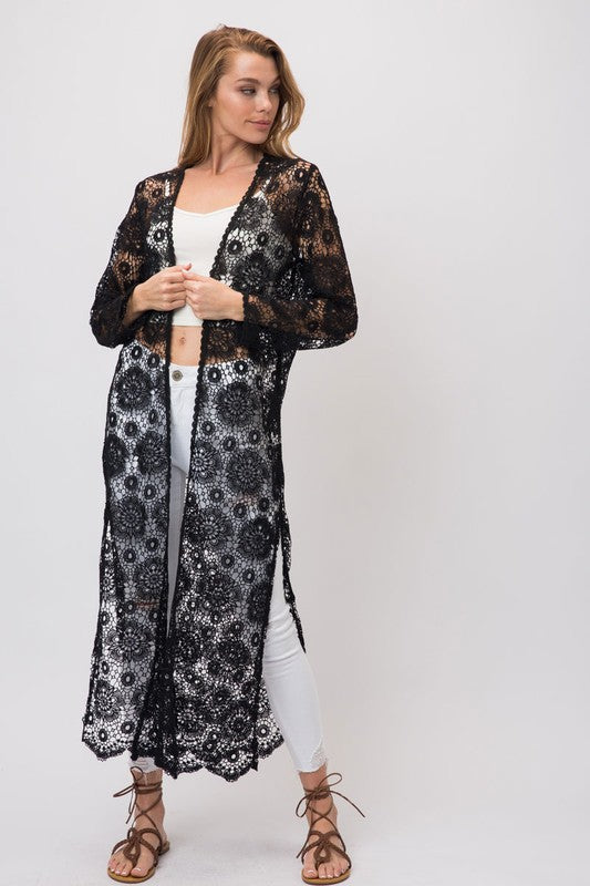 LONG OPEN CROCHET DUSTER CARDIGAN