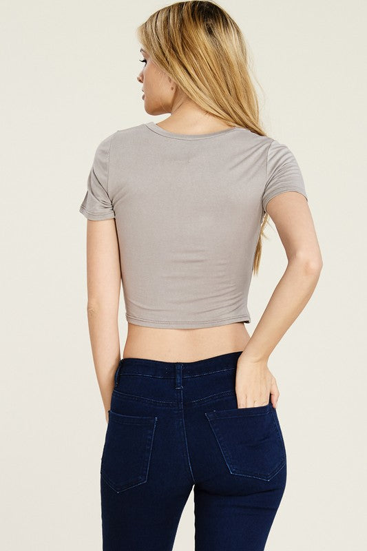 KNIT CROSS TWIST FRONT CROP TOP