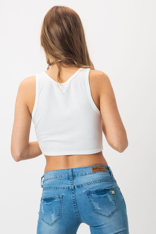 KNIT V NECK CROP TANK TOP