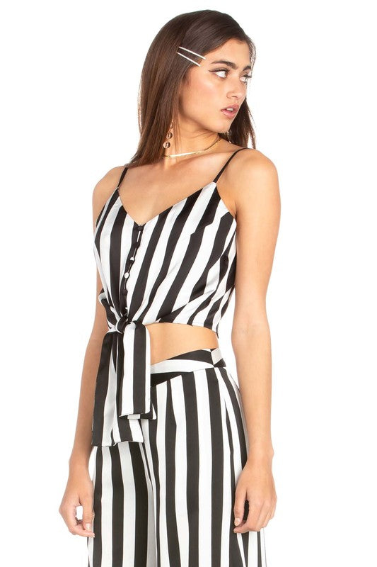 Striped Cropped Cami With Tie