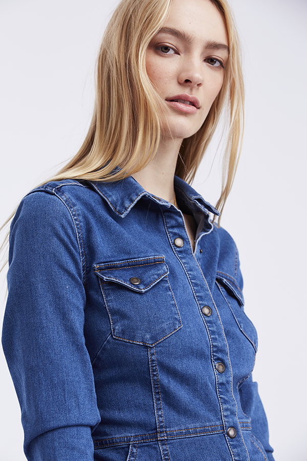 Free People Dynomite in Denim Mini