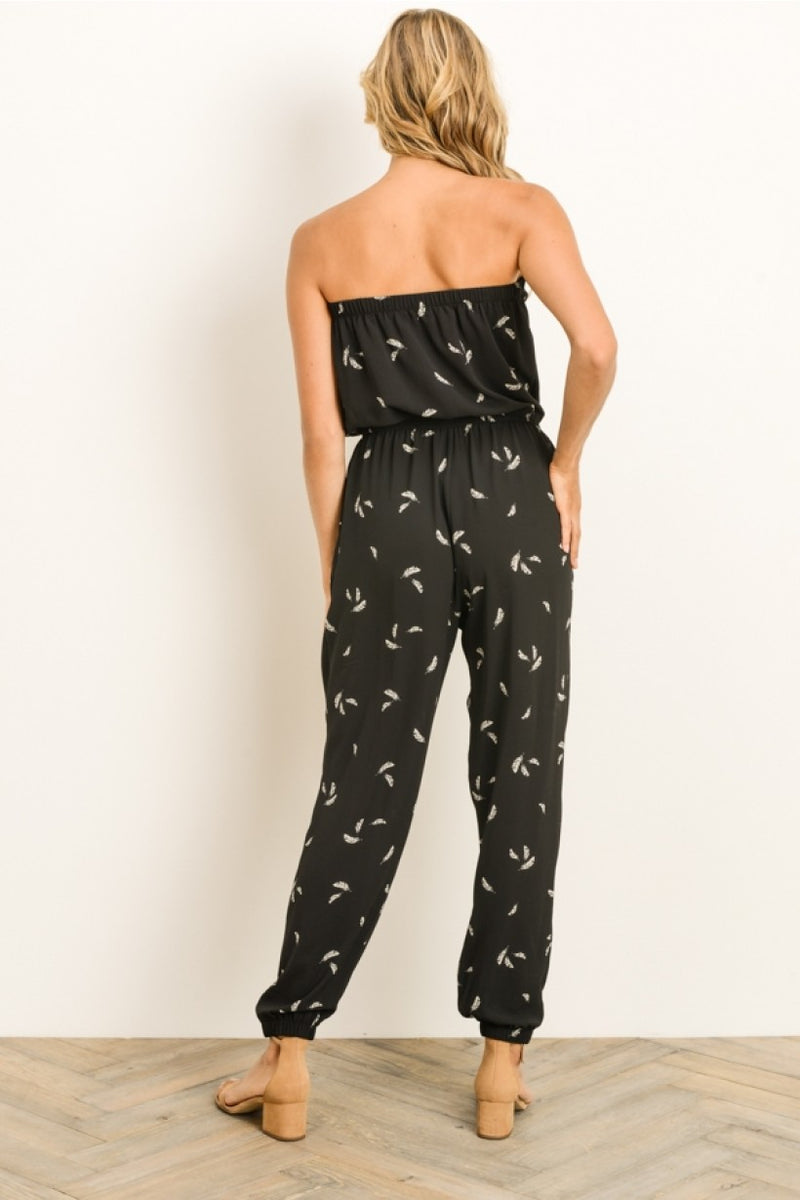 Tube Top Feather Jumpsuit