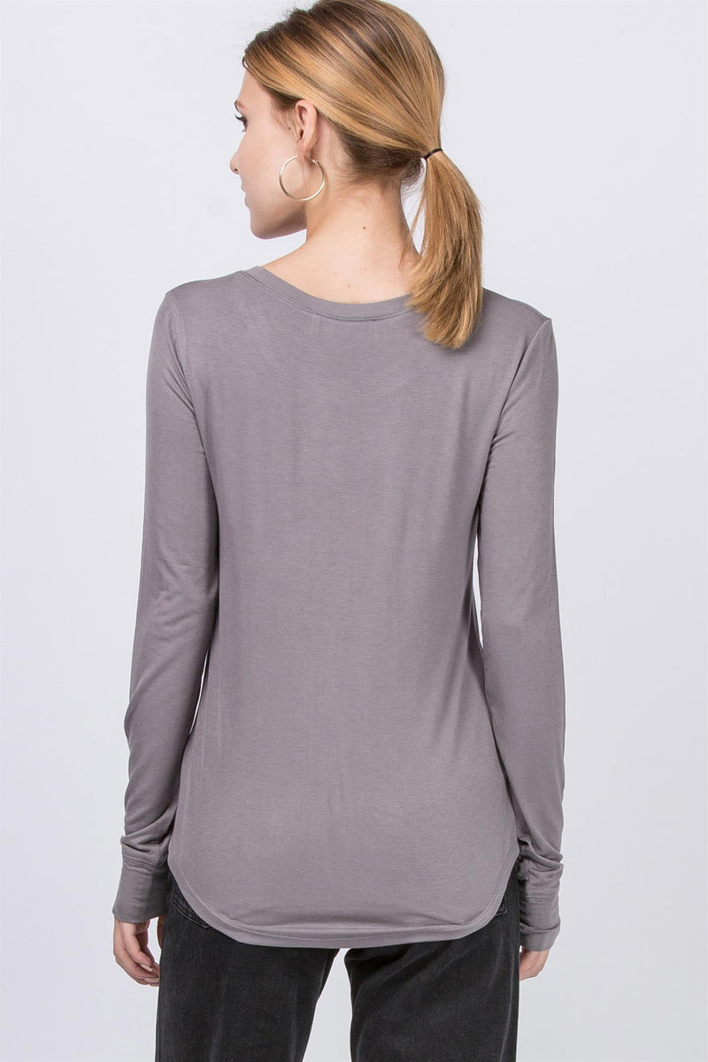 Boat Neck Drop Long Sleeve Top