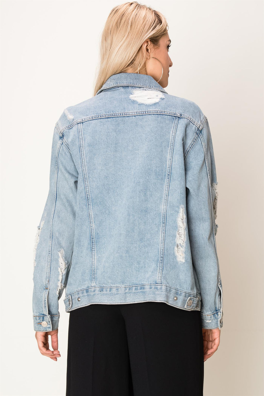 Destroyed Light Wash Denim Jacket