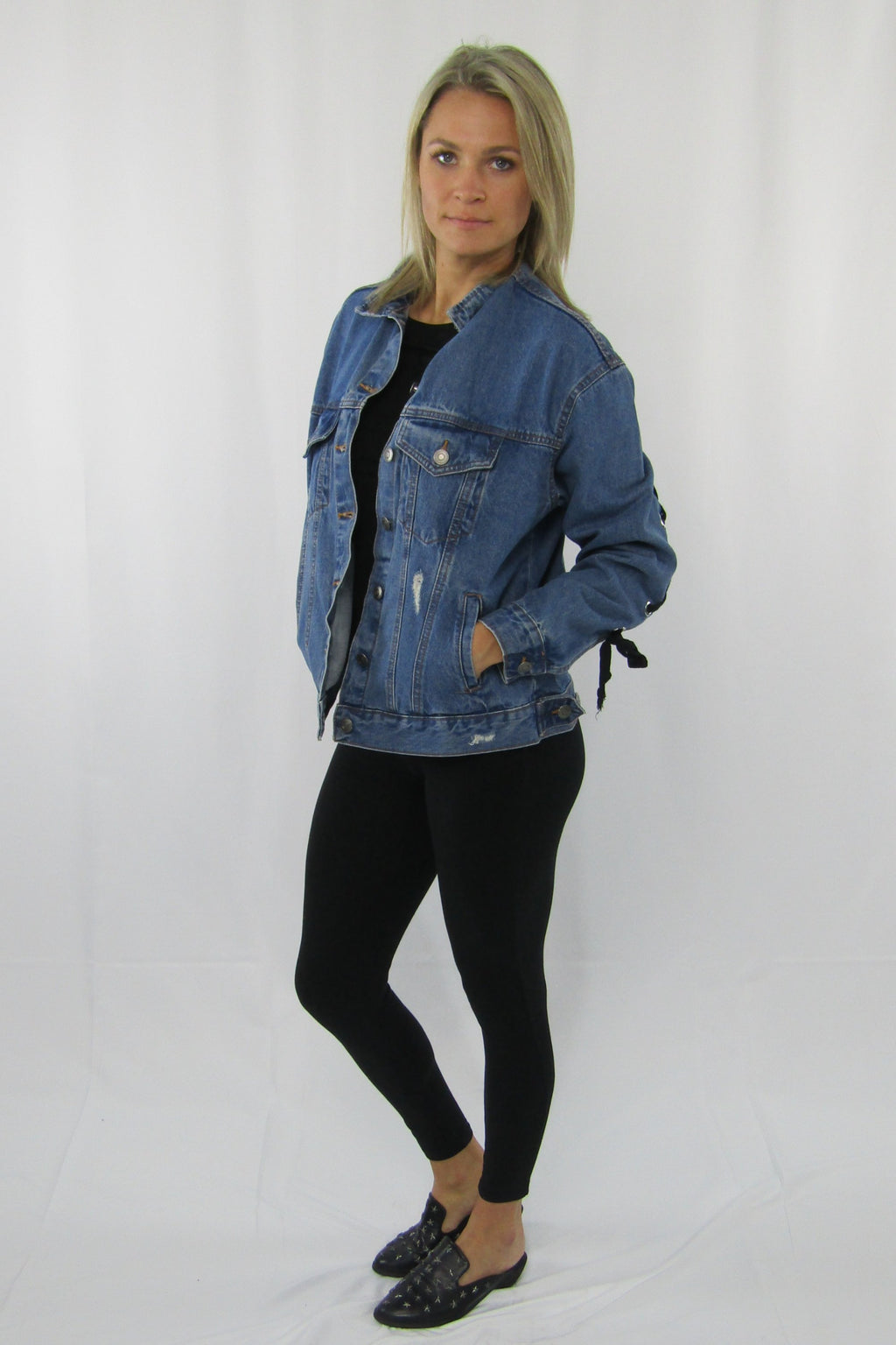 Lace Up Sleeve Denim Jacket