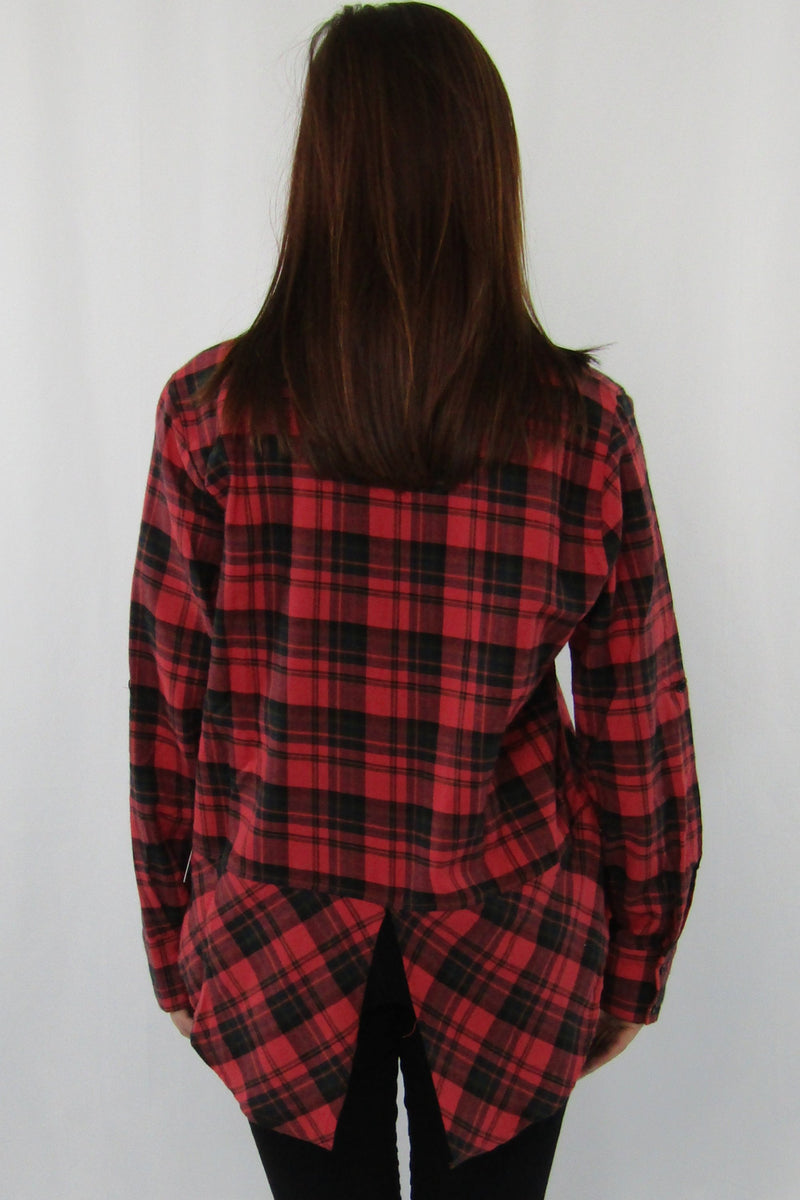 Fishtail Detail Plaid Button