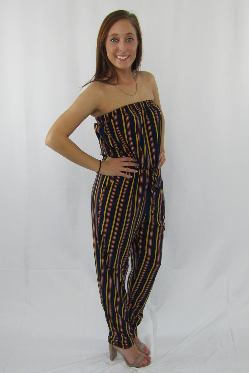 Pinstripe Mustard and Navy Jumpsuit