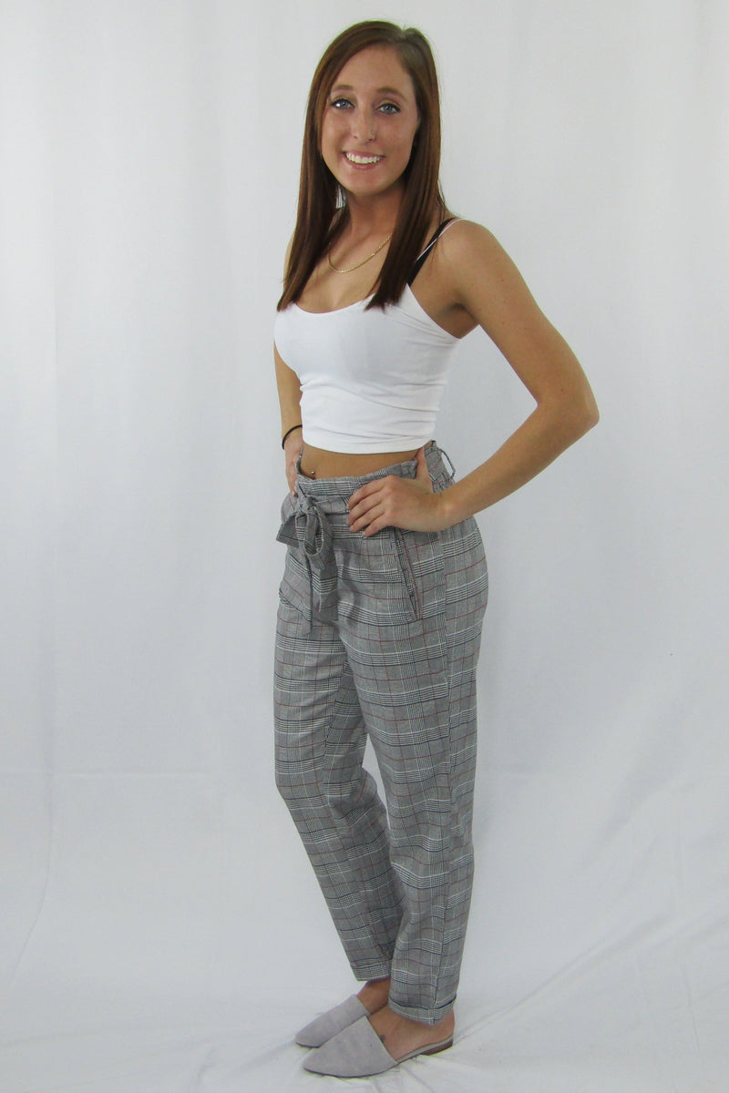 Pleated Plaid Pants