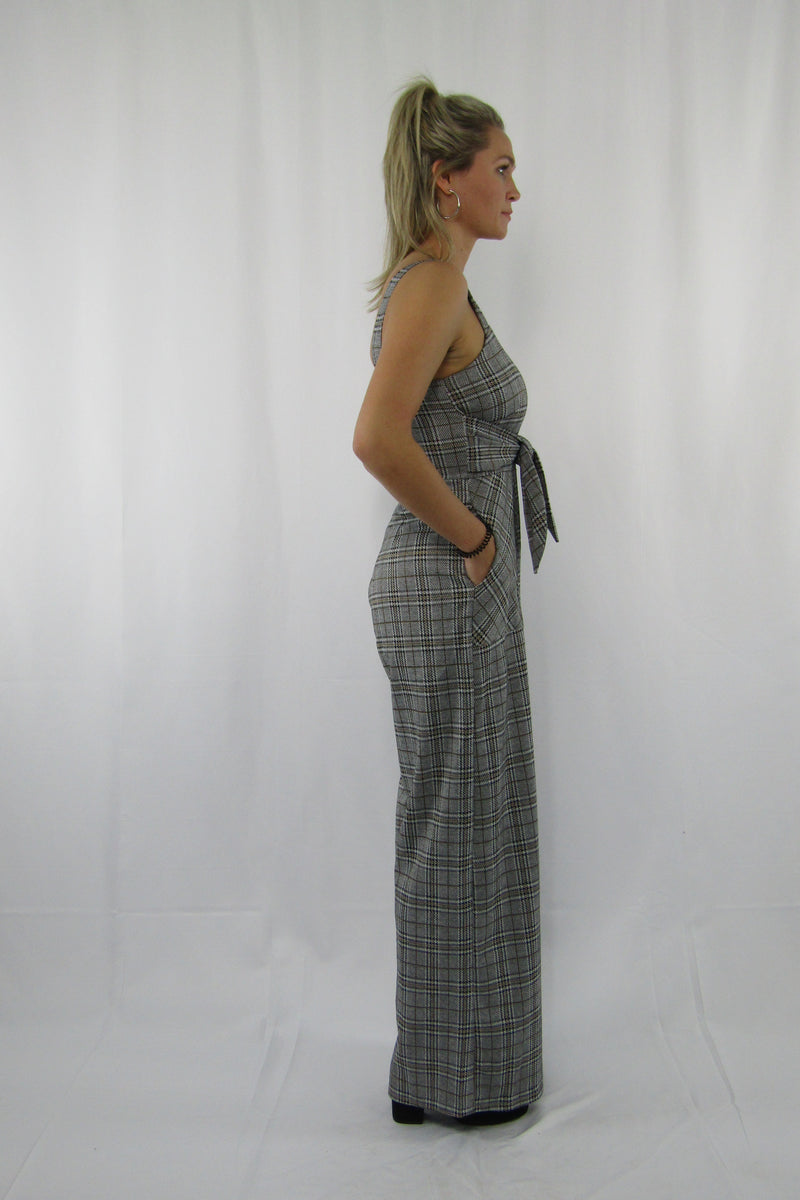Front Tie Checkers Strappy Jump Suit