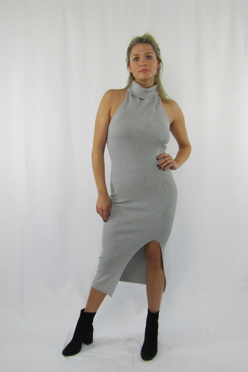 Turtle Neck Open Back Bodycon Dress