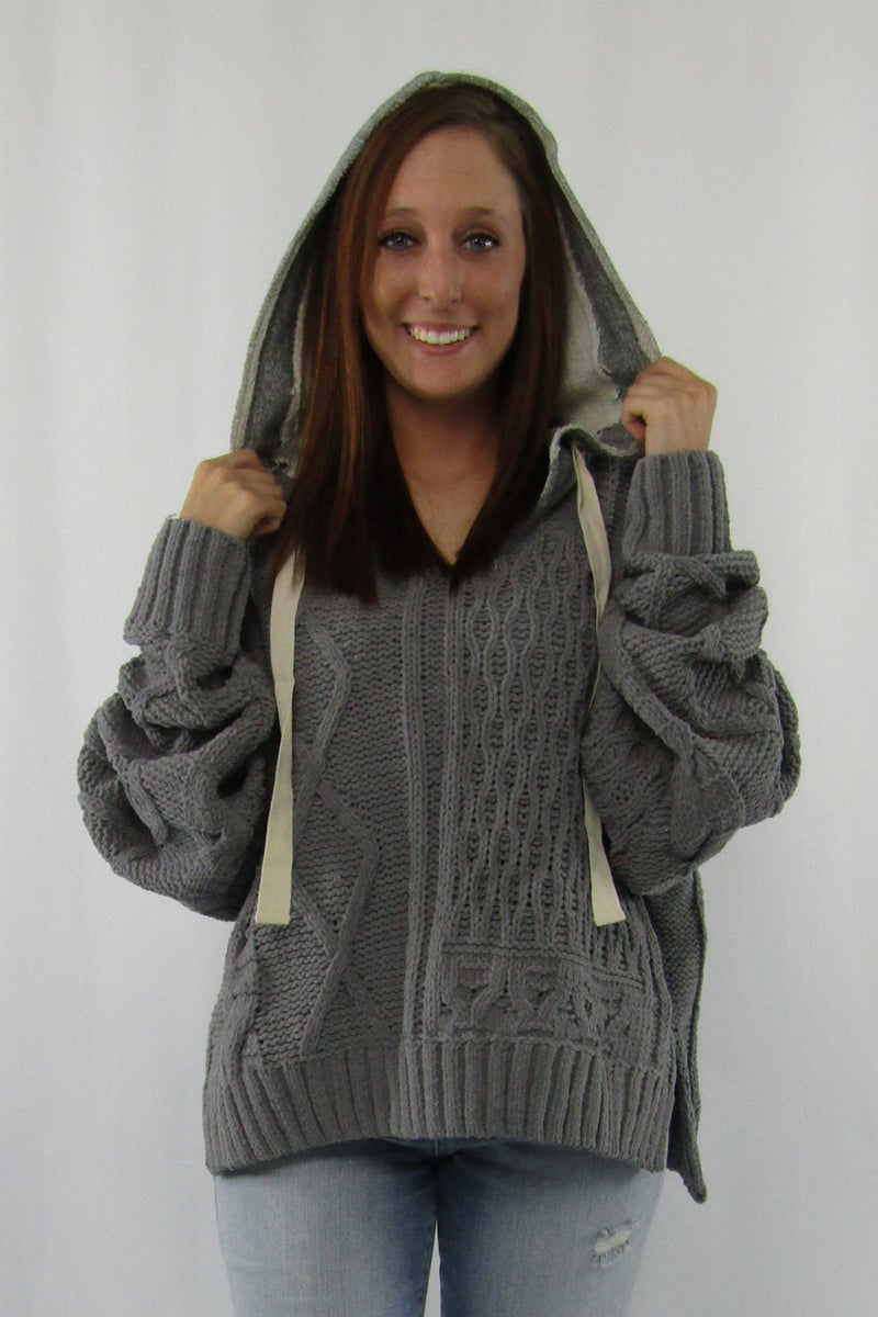 Deep Round Neck Sweater w/ Hood