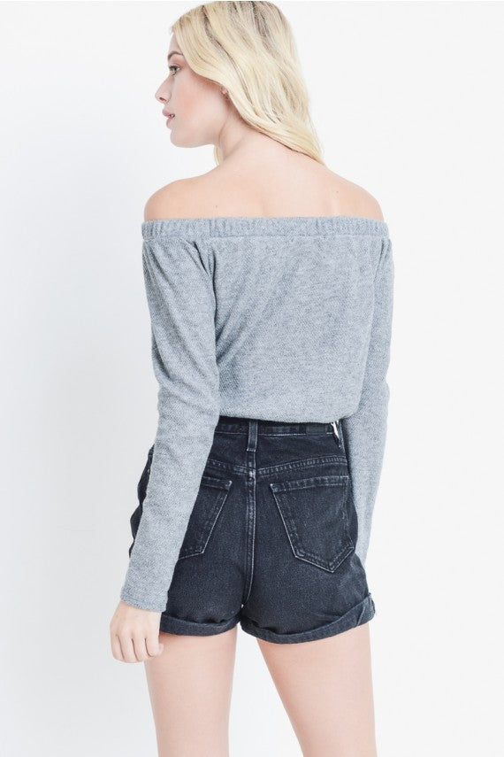 Off Shoulder Long Sleeve Cropped Top