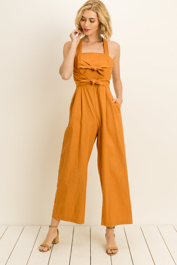 Front Tie Strappy Jumpsuit
