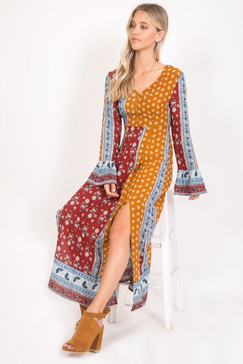 Border Aztec Print Midi Dress