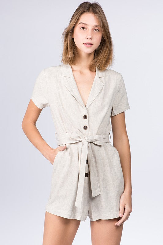SHORT SLEEVE FRONT BUTTON ROMPER