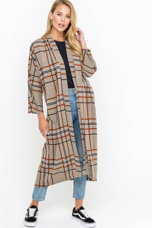 Plaid Duster Cardigan