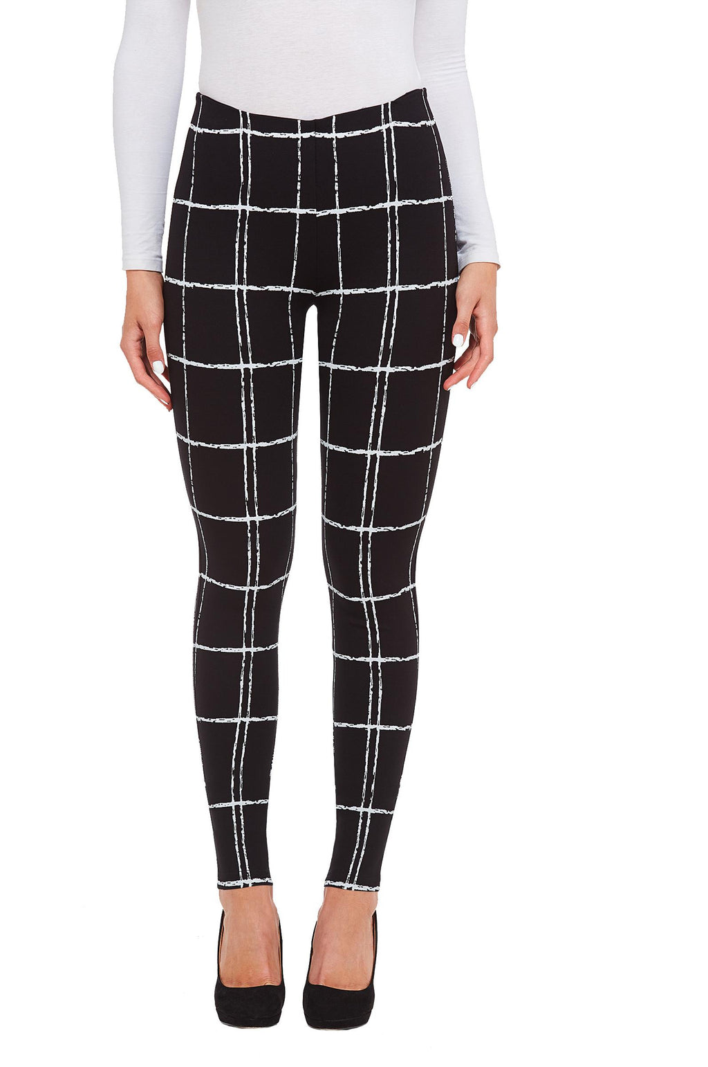 ABSTRACT PLAID LEGGINGS