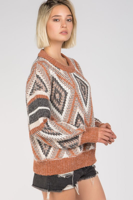Printed round neck knit sweater