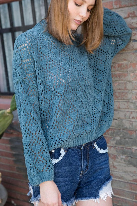 Mock neck crochet sweater with balloon sleeves