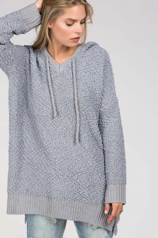Mohair pullover hoodie dress