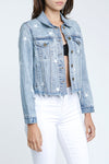 Brando Cropped Denim Star Jacket