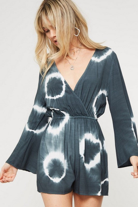 Tie Dye Romper with Bell Sleeve