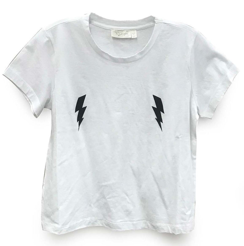 White Tee with Lightning Bolts