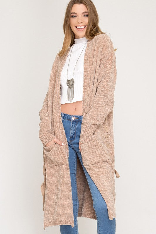 Long Sleeve Chenille Sweater Cardigan