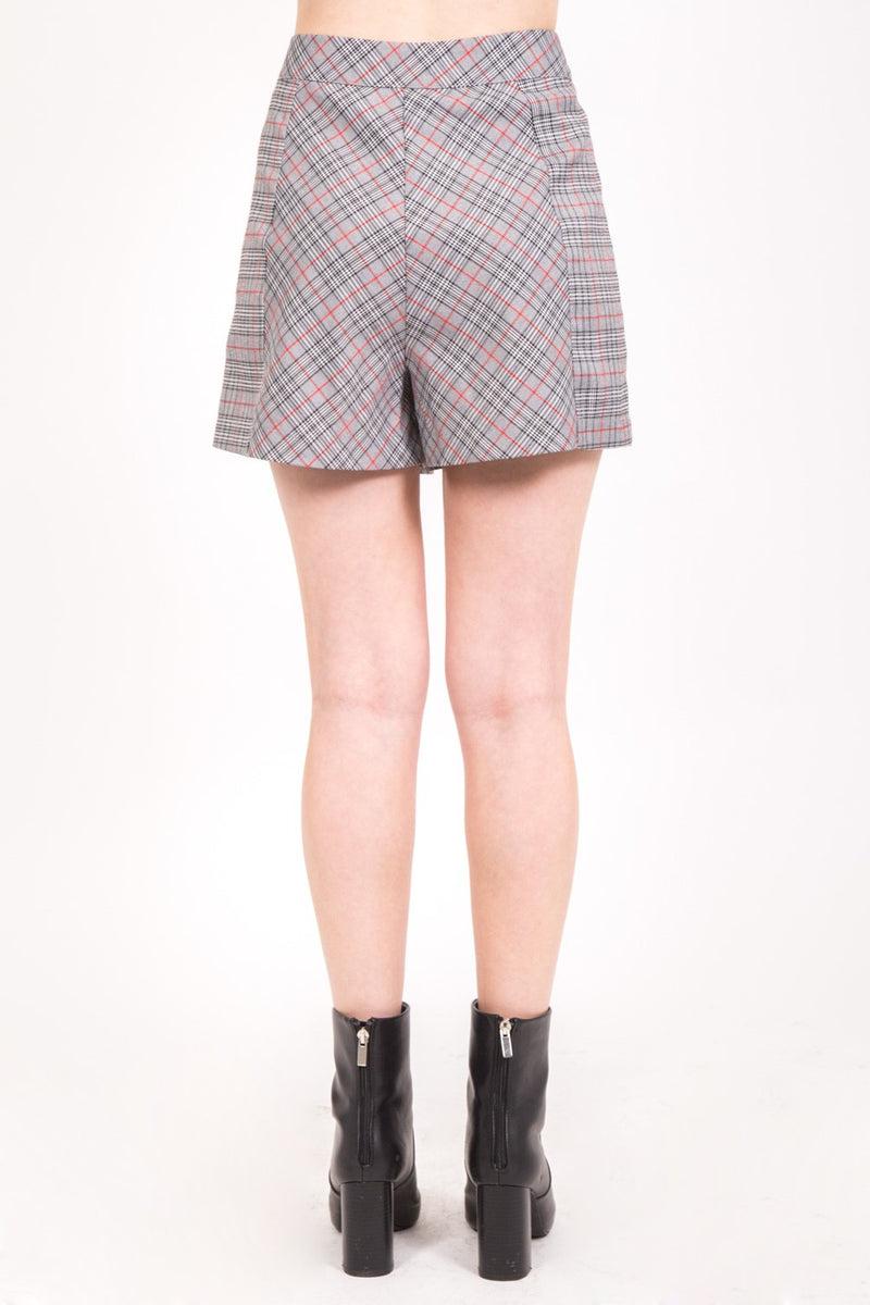 Buttoned Plaid Skirt