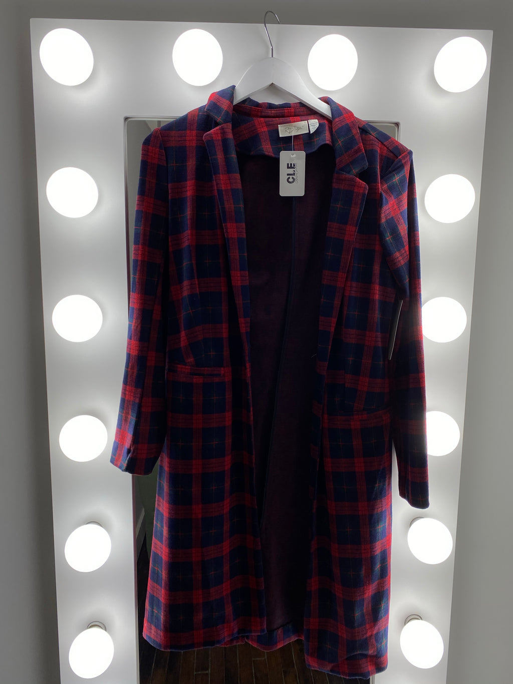 Knit Plaid Jacket
