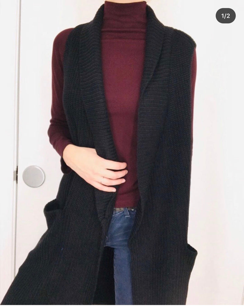 Black Sleeveless Cardigan