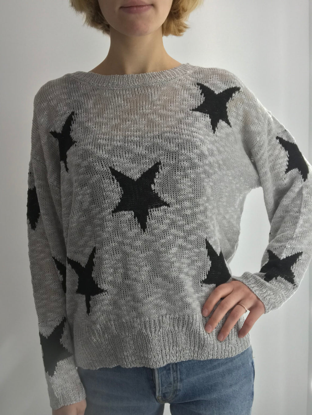 Grey & Black Deep Neck Sweater