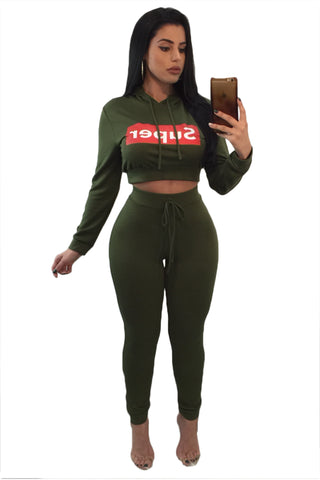 ce763644d1a Army Green Super Hooded Crop Top Skinny Jogger Pant Set