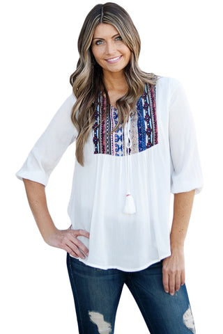 69bdc37de78 Embroidered Neck 3 4 Sleeve White Crepe Top. Findakera Embroidered ...