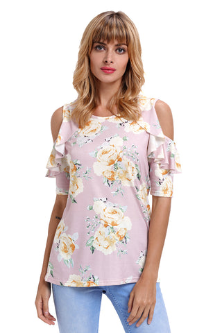9c63dffd931 Pink Floral Cold Shoulder Top with Ruffle Sleeve. Findakera ...