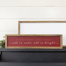 all is calm all is bright, silent night wood sign for red Christmas farmhouse decor