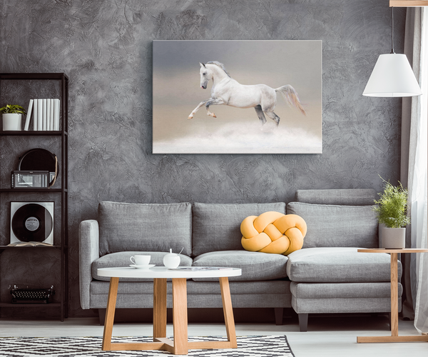 White Horse in the Clouds Canvas