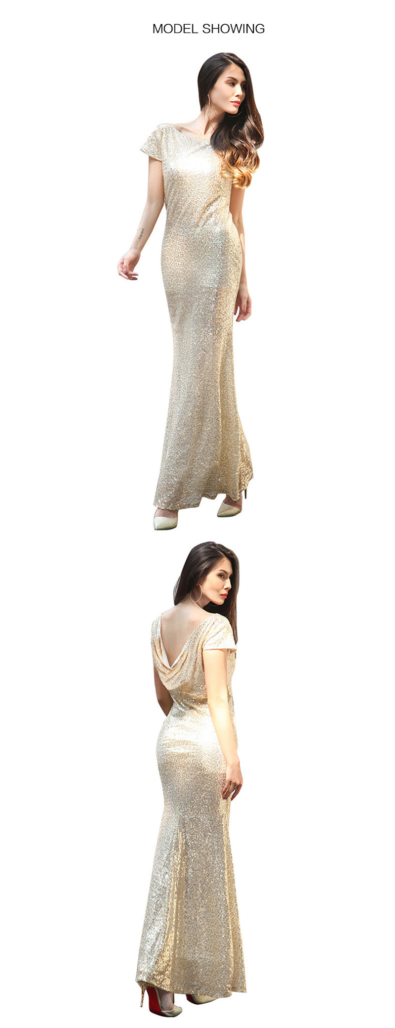 golden long evening dress