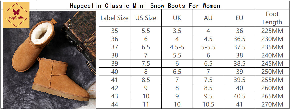 Classic Mini Genuine Leather Snow Boots for Women