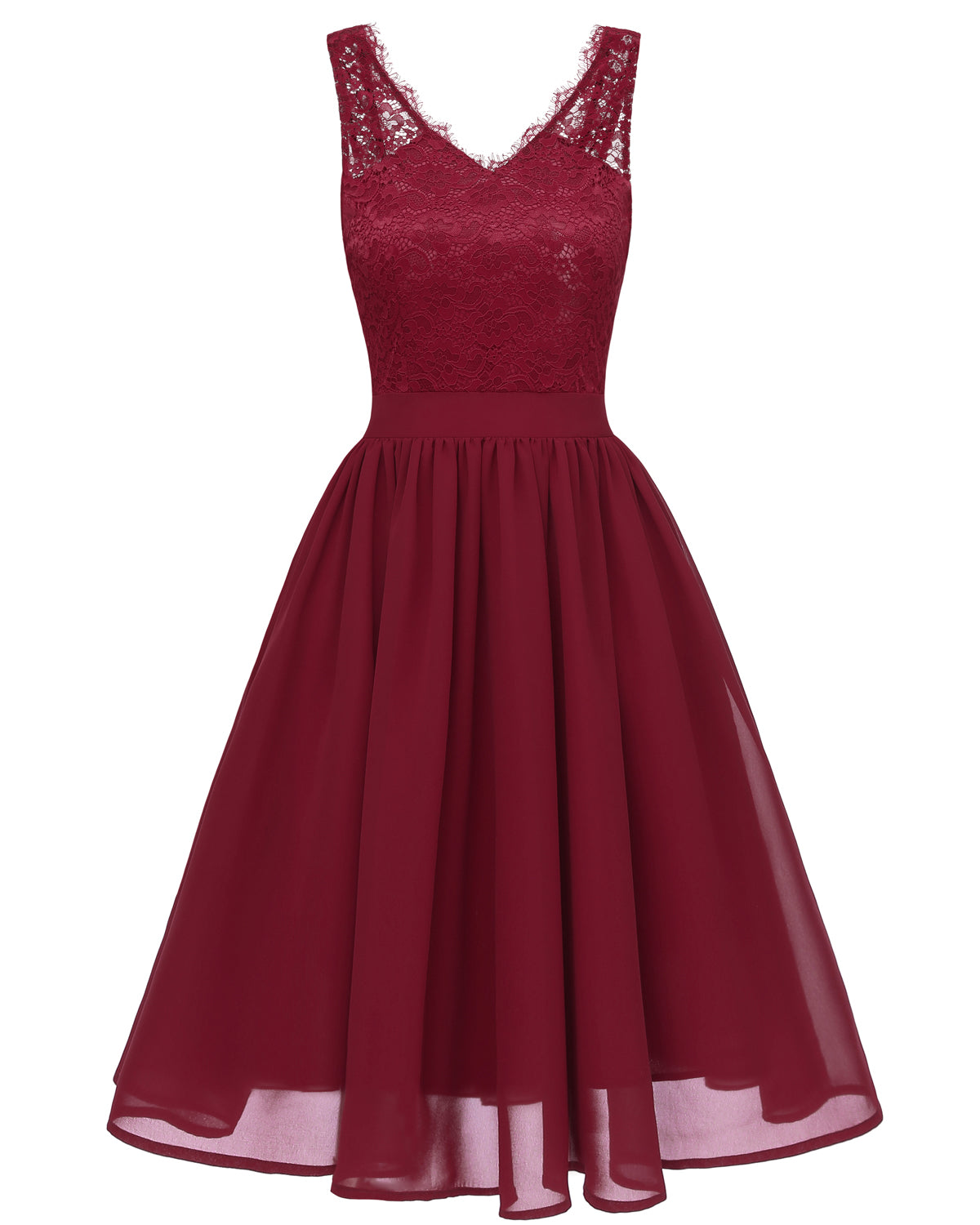 Flowergirl Vintage 1950s Strapped Hapqeelin Dress wineRed Front