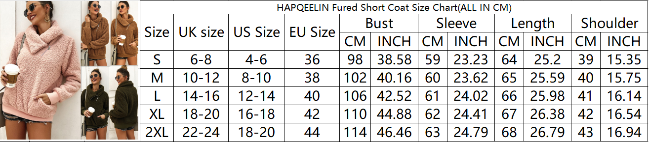 Hapqeelin Coat Women Short Thickening Faux Fur Warmy Winter Coat with Medium-High Collar