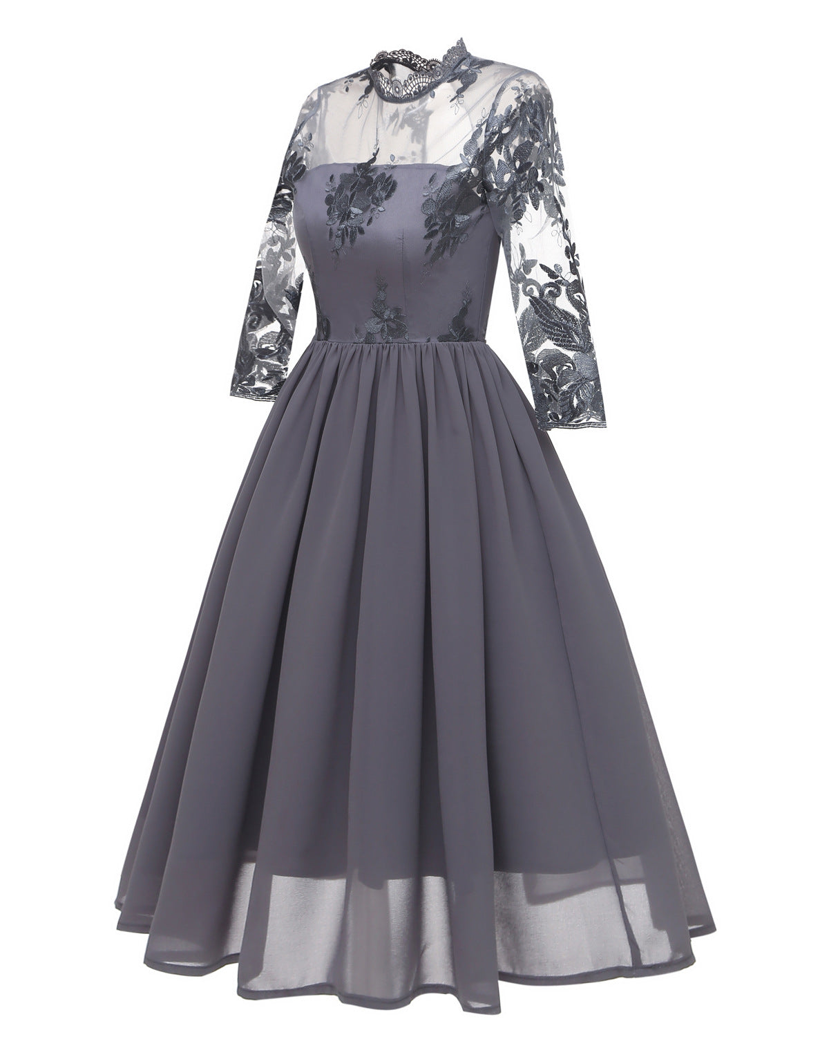 Women Vintage Long 3/4 Sleeve Hollow Laced Bridesmaid Dress with Collar